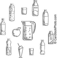 bebidas, y, bebidas, dibujos, conjunto