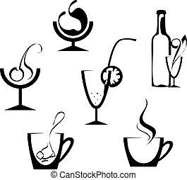 bebidas, y, bebidas, iconos