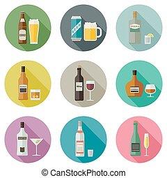 bebidas, y, bebidas, icons.