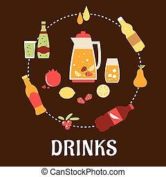 bebidas, y, bebidas, plano, composición