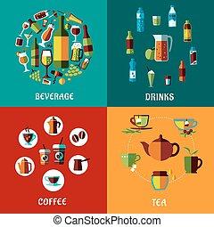 bebidas, y, bebidas, plano, compositions