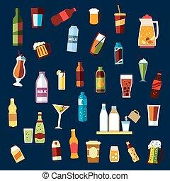 bebidas, y, bebidas, plano, iconos, conjunto