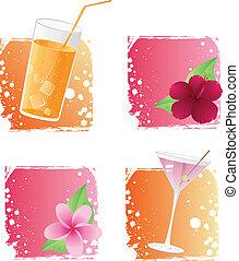 bebidas, y, flores, en, grunge, backgr