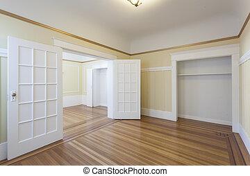beboelseslejligheden, studio, rense, tom rum