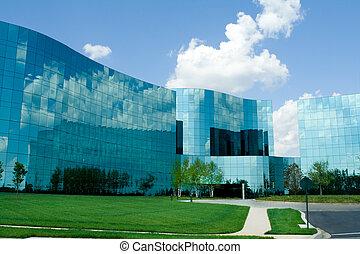 bebyggelse, enigt, kontor, förorts-, states., nymodig, glas...