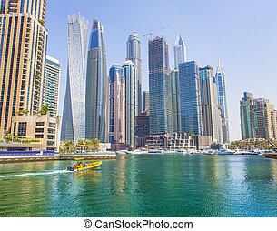 bebyggelse, enigt, nymodig, dubai, arab, marina, emirates, fartyg