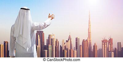 bebyggelse, hans, outstretching, nymodig, dubai, hand, man