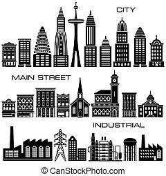 bebyggelse, ikon, sätta