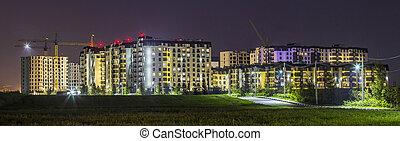 bebyggelse, lägenhet, byggt, panorama, konstruktion under, natt, färsk, ännu
