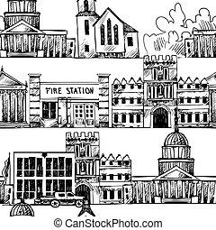 bebyggelse, seamless, bakgrund, regering