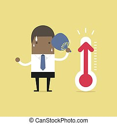 because, aumentado, muy, temperature., caliente, africano, hombre de negocios