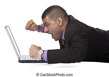 because, choque, computador negócio, cansado, homem