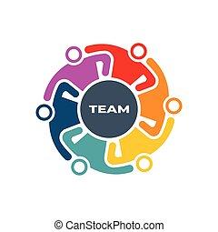 because, logo, harte arbeit, besitz, leute, arme, design, gemeinschaftsarbeit, gruppe, machen
