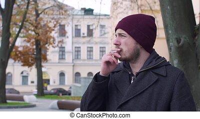 because, toux, rue, ralenti, tir, fumer, homme