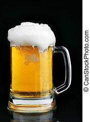 becher biers, mit, bierschaum
