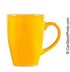 becher, freigestellt, gelber , hintergrund., helles weiß