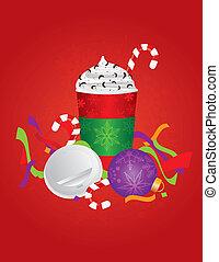 becher, getränk, expresso, abbildung, hintergrund, gehen, weihnachten