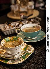 becher, hölzern, tee, dunkel, elegant, tisch.