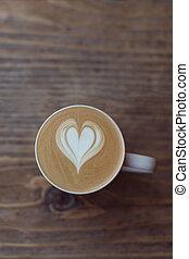 becher, von, latte, bohnenkaffee, auf, der, holz, tisch