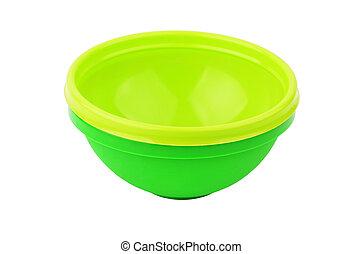 becken, grün, plastik