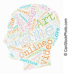 Become a Video Game Designer Online text background wordcloud concept