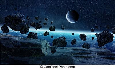 becsapódás, bolygó földdel feltölt, meteorkő, hely