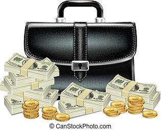 becsomagol, pénz, fekete, ügy