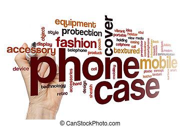 becsomagol, telefon, fogalom, szó, felhő