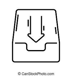 becsomagol, vektor, jelkép., ikon, egyenes, ábra, lineáris, fogalom, áttekintés, dokumentum, aláír