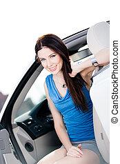 becsuk, fehér, nő, feláll, autó