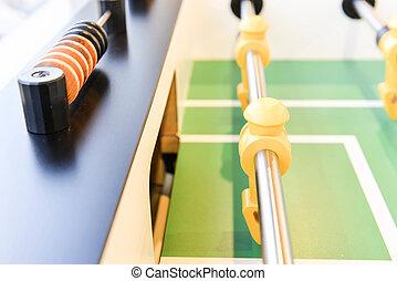 becsuk, játékos, labdarúgás, feláll, asztal