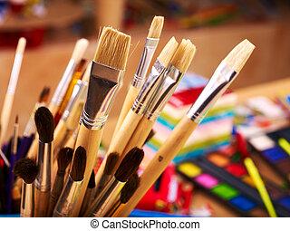 becsuk, művészet, supplies., feláll