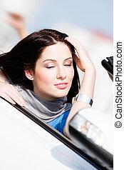 becsuk, nő, neki, autó, szemek, feláll sűrű