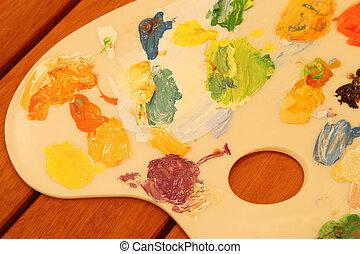 becsuk, paletta, feláll, painter's