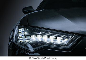 becsuk, prestigious, első lámpa, feláll, autó