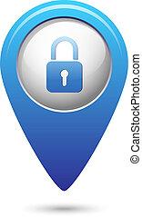 becsuk, térkép, ikon, mutató, zár