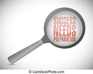 bedürfnisse, begriff, erfolg, vergrößern, zeichen, vorbereitung