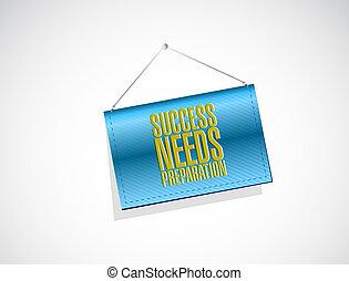 bedürfnisse, begriff, erfolg, zeichen, vorbereitung, hängender