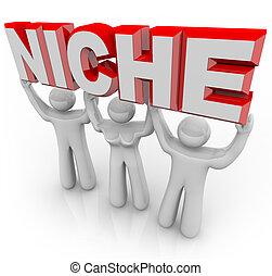 bedürfnisse, marketing, nische, kunden, mannschaft, einmalig