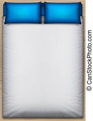Bed And Bedding Direct Top - A direct top view from above a...