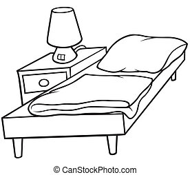 Bed and Bedside - Black and White Cartoon illustration, Vector