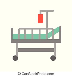 bed and blood bag, medical and hospital related flat design icon set