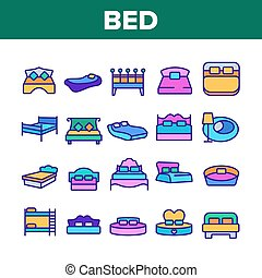 Bed Bedroom Furniture Collection Icons Set Vector