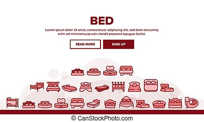 Bed Bedroom Furniture Landing Header Vector