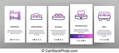 Bed Bedroom Furniture Onboarding Icons Set Vector