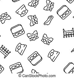 Bed Bedroom Furniture Vector Seamless Pattern