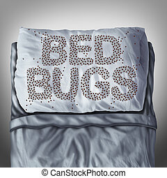 Bed bug on pillow and in bed as a bedbug infestation concept shaped as text letters as parasitic insect pests under the sheets as a hygiene health care symbol and metaphor of parasite bite danger inside a mattress.