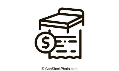 bed buying Icon Animation. black bed buying animated icon on white background