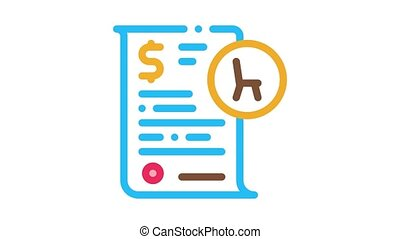 bed buying Icon Animation. color bed buying animated icon on white background