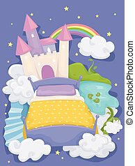 Bed Design - Illustration of a Bed with a Castle and a...